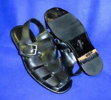 MINTY 10 M COLE HAAN FISHERMAN SANDALS LEATHER SOLES BLACK MENS SHOES
