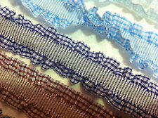 Elastic Gingham Double Frill RIBBON Plaid Trim - 25 mm wide - Sold by the Metre
