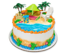HAWAIIAN LUAU BEACH CHAIR AND UMBRELLA CAKE KIT Topper Party Supplies Bakery Set