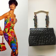 Vintage Rare Gianni Versace Couture Embossed Patent Leather Beaded Strap Bag