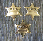 3 NEW METAL TOY SHERIFF BADGES WEST COWBOY SILVER SHERIFF'S BADGE PARTY FAVORS