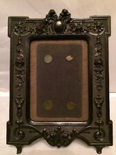Antique Victorian Civil War 1860's Black Jet, Gutta Percha Mourning Photo Frame