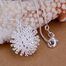 Wholesale 925Sterling Silver Pretty White Fireworks Pendant Necklace PLB178
