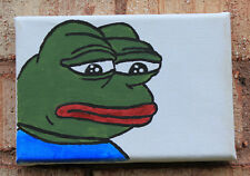 "Sad Frog (Pepe The Frog) Painting On 4""x6"" Canvas 