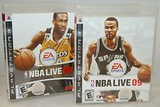 PS3 NBA Live 08 & 09 Video Game Lot 2-Titles Official Basketball Bundle 2009