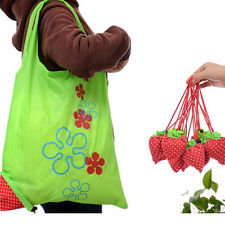 5pc Foldable Shopping Tote Reusable Eco Friendly Grocery Bag Carrier Strawberry