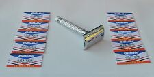 Mens Steel Classic Safety Razor & 10 Wilkinson Sword Double Edge Blades Vintage