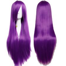 US Long Full Head Synthetic Wig Straight Cosplay Costume Party Dress Purple Wigs