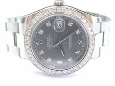 Rolex Datejust Rhodium Dial SS Oyster Automatic Mens Watch Diamond Dial 116334