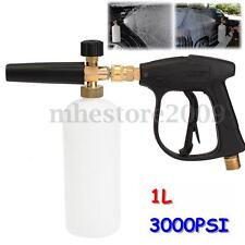 3000 PSI High Pressure Washer Gun W/ 1L Snow Foam Lance Bottle Car Cleaning Wash