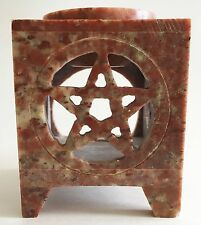 Soapstone Essential Oil Burner Diffuser Aromatherapy Lamp Carved Sq Pentacle 3""