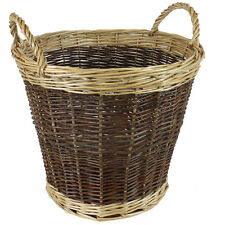 JVL Willow Wicker Two Tone Log Storage Toy Basket with Handles 50 x 40cm