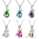Splendid Austrian Crystal Teardrop Pendant Glamorous 14K Silver Plated Necklace