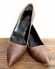 "JIL SANDER ITALY STITCHED BROWN GENUINE LEATHER 3"" MED HIGH HEEL PUMP SHOES 37 7"