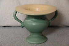 RumRill Pottery Matte Green Double Handled Vase # 638