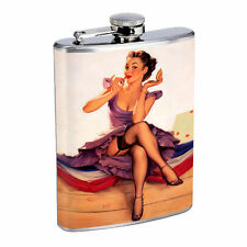 Flask 8oz Stainless Steel Pin Up Girl Design-051 Vintage Model Lipstick