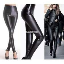 Noir Pour Femmes Sexy PVC Leggings Look mouillé Dames Moulant Brillant