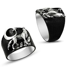 925 Sterling Silver Men's ring with Wolf solid oxidized silver