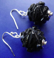 antique Victorian WHITBY JET & SILVER carved flower bead pierced earrings -C90