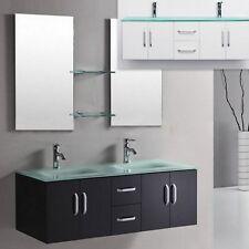 Mobile da Arredo per Bagno 150 cm doppio lavabo con 2cassetti e 4ante color nero