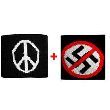 Coppia polsini pace + divieto in spugna gruppi rock e bandiere