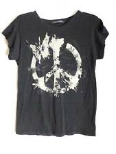 Wildfox  100% authentic black T shirt beige peace butterfly design New Size M