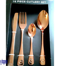 16 Piece Copper Cutlery Set Heart Detail Forks Spoons NEW