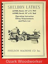 "SHELDON Old 10"" Metal Lathe Operator's & Parts List Manual 0832"