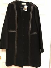 Tory Burch Nwt $795 Womens Black Wool Leather Trim Outerwear Coat Jacket 14