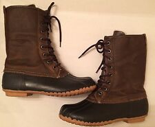 Women's SPORTO Delinda Brown Leather Faux Fur Steel Shank Lace Up Boots Size 9M