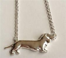 Silver Plated Dachshund Necklace Dog Puppy Hound Vet Tech Rescue Gift Crystal
