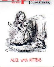 New CLING Deep Red Rubber Stamp Vintage Alice in wonderland kittens free us ship