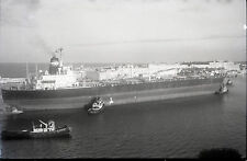 Japanese Cargo Freighter Pushed by Tug Boats - Vintage B&W Ship Negative