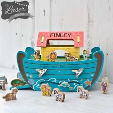 Personalised Large Wooden Noahs / Noah's Ark Boat With Animals Shape Sorter