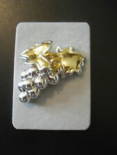CABOUCHON Brooch Grapes & Leaves Silver/Gold Colour NEW in PACKET