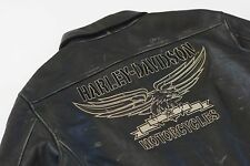 Harley Davidson Men Military SQUADRON Black Leather Bomber Jacket 97082-09VM 2XL