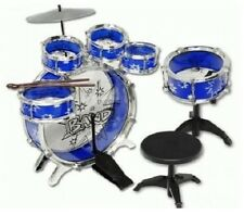 Drum Set For Kids Musical Instruments Toddlers Sets With Stool Child Junior Blue