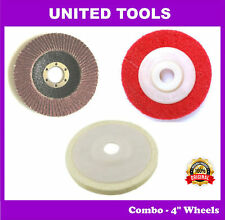 Wheels Combo - Flap, Felt & Non Woven Wheels for all 4inch Angle Grinder