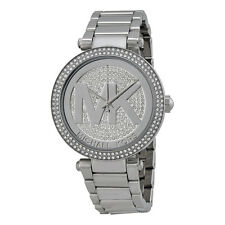 Michael Kors MK5925 Parker Silver Big Logo Glitz Women's Watch