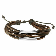 Brown Leather & Steel Multi Strand Bracelet Wristband by Urban Male