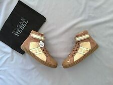 NEW HOGAN JUNIOR REBEL GIRLS BEIGE & GOLD HIGH TOP TRAINERS SHOES 2 SZ 34 US 3