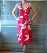 Monsoon red floral halter dress ~ UK 8