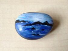 Hand Painted Pebble, Miniature Landscape, Seascape, Meditation Stone (242)