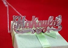 Name Double Plate Silver Personalized Choose Any Name Necklace(Heart Tail)USA