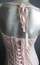 Victorias Secret Very Sexy Pink High Neck Mesh Lace-Up Corset Cutout Bustier 36D