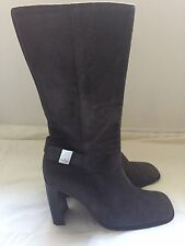 Gucci Knee-high Suede Gray Boots With Side Buckle Zip-up Size 7 B