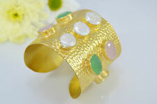 Ottoman GOLD Cuff Bracelet Bangle Semi Precious Gemstone Rose Quartz Pearl Topaz