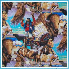 BonEful Fabric FQ Indian Native American Buffalo Eagle Bird Bull Horse Owl Wolf