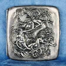 Antique Engraved Sterling Silver Cigarette Case with 3D Mermaid Motif HM .925