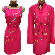 Vintage EAST Pink Butterfly Embroidered Oriental Pencil Dress &Jacket Suit 14 UK